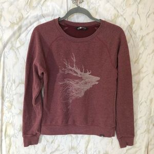 North Face small French Terry Elk sweater burgundy